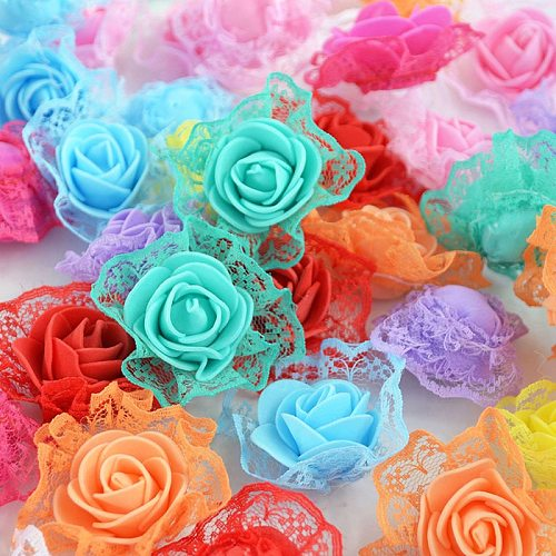 10pieces Foam Lace Rose Artificial Flower For Wedding Party Home Decoration DIY Decorative Wreath Fake Flowers