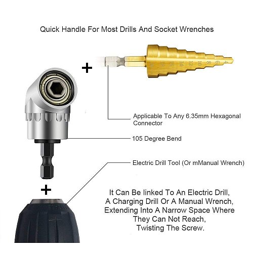 105 Angle Screwdriver Set Socket Holder Adapter Adjustable Bits Drill Bit Angle Screw Driver Tool 1/4'' Hex Bit Socket