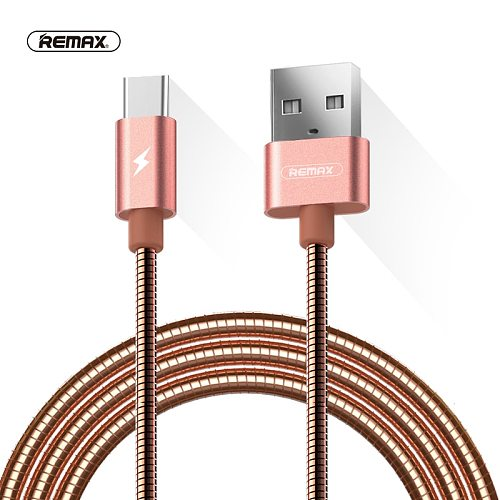 REMAX Metal Spring wire usb Type C Data Cable 2.1A Fast Charging USB C Cable for xiaomi 4C MI5 redmi 4 pro/samsung S8