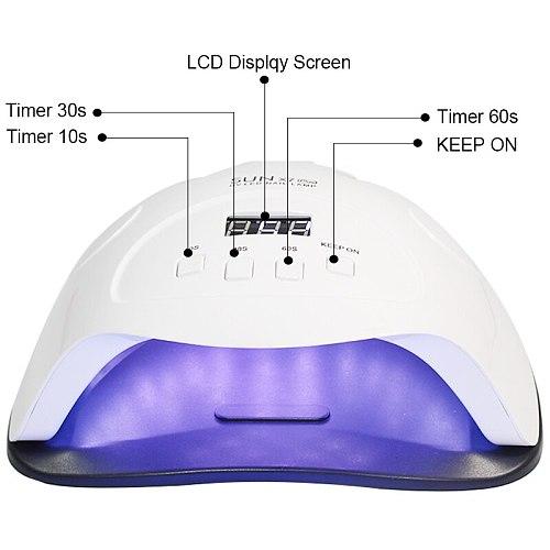 90W UV LED lamp nail dryer 42 pieces LEDs nail lamp for UV treatment Gel nail polish 10s/30s/60s/90s sensor LCD display