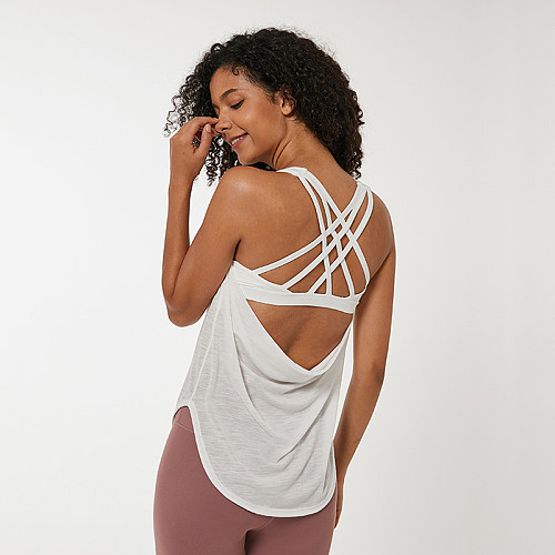 Curved Hem Gym Tank Tops Built In Sports Bra Women's Back Criss Cross Strappy Athletic Yoga Top Women Workout Running Shirts