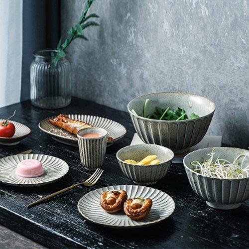 Retro Crockery Dinner plates Snack Fruit Dry Fruit Plate High-Quality Handmade Sushi Tea Tray Dessert Dinner Plate Tableware
