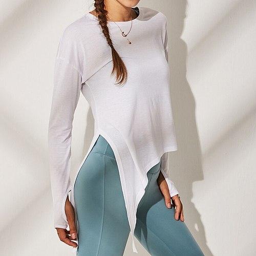 Yoga Top Loose Fit Women Side Split Bandage Sport T Shirt Women Streetwear Long Sleeve Running Workout T-shirts Gym Clothing
