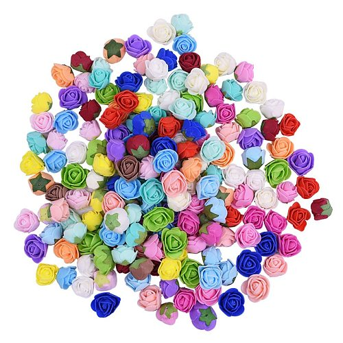 100pcs 2cm Mini Artificial Pe Foam Rose Flower Heads For Wedding Home Decoration Handmade Fake Flowers Ball Craft Party Supplies