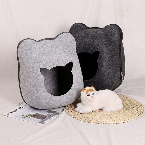 Felt Cloth Pet Cat Sleeping House Basket Cushion For Cats Small Dogs Bed Mat Kennel Dog Cat Bed Cave Nest Kennel Pet Supplies