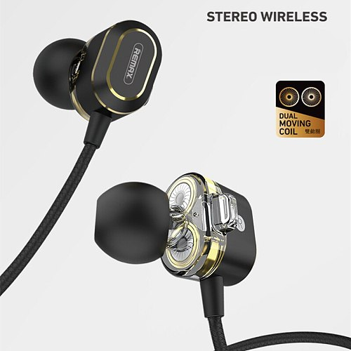 Original Remax Sports Bluetooth Headset Wireless Stereo Music Earphone Bluetooth 5.0 Double Moving Circle For iPhone Xiaomi