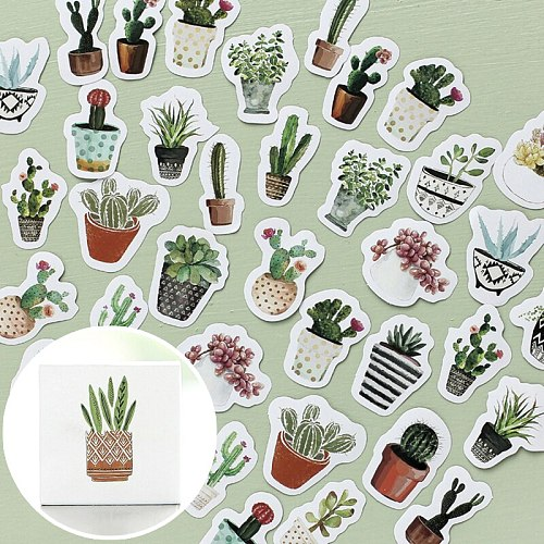 45pcs Kids Stationery Stickers Diy plant Paper Sticke Kawaii Cactus Stickers For Decoration Scrapbooking AccessoriesPegatinas