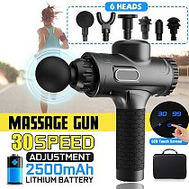 Fashion LCD Display Massage Gun Deep Muscle Massager Muscle Pain Body Massage Exercising Relaxation Slimming Shaping Pain Relief