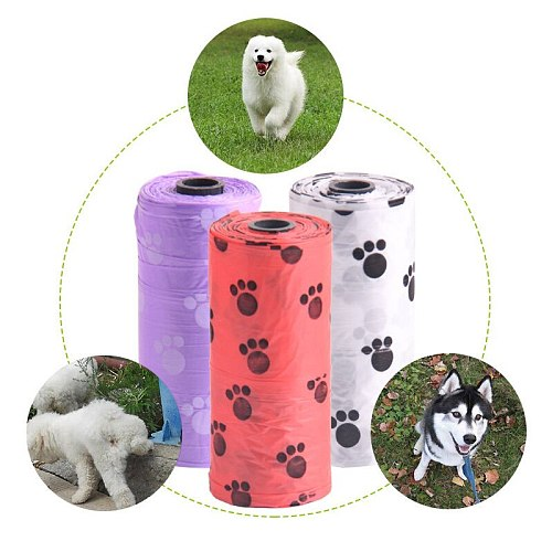 15pcs/Roll Cat Dog Poop Bags Sweet Heart Strip Paw Pattern Pets Acessorios Waste Garbage Bags Best Selling 2019 Products