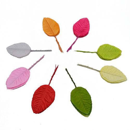 40pcs Nylon Plastic Leaf Green Leaves Artificial Flower For Wedding Decoration DIY Wreath Gift Craft Fake Flower