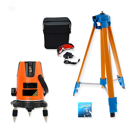 Laser Level 360 Degrees 5 Lines Rotary 635nm Outdoor Mode-Receiver and Tilt Slash Available Auto Line Micro adjustment