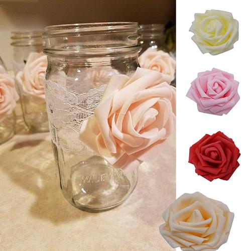 30Pcs Artificial 8cm PE Foam Rose Flower Heads Wedding Bouquet Party Home Decorative Wreath DIY Flower Ball Wedding Decoration
