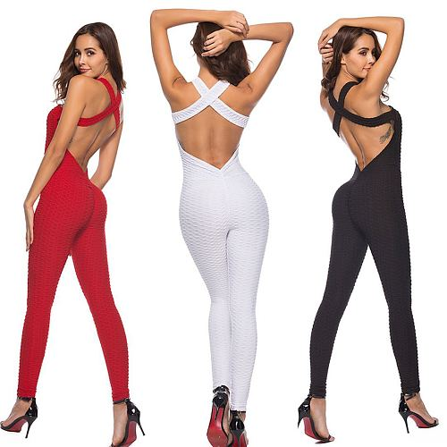 Yoga Suits Women Sportswear Workout Clothes For Women Slim Fitness Yoga Set Stretchy Leggings Running Sets Bandage Gym Bodysuit