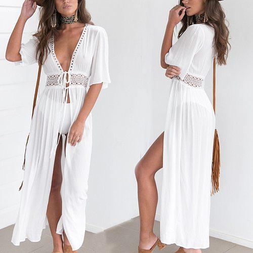 2019 Women Beach Cover Up Tunic Lace White Long Pareos Bikini Cover Up Sarong Bathing Suit Kaftan Beach Dress Beachwear