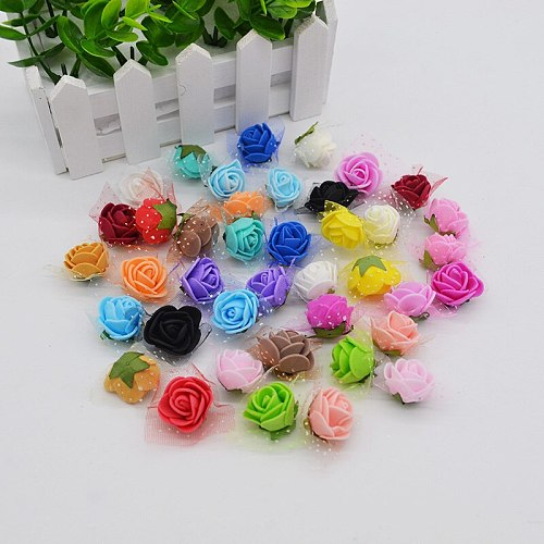 50Pcs/lot 2cm Mini PE Foam Rose Artificial Silk Flower Heads With Leaves Home DIY Wreath Supplies Wedding Party Decoration
