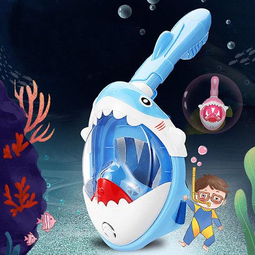 New Boys Girls Cartoon Swimming Full Face Snorkeling Mask Kids Underwater Scuba Anti Fog Snorkel Diving Mask Set Equipment