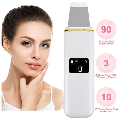 Ultrasonic Face Scrubber Deep Cleaning Machine Skin Scrubber Peeling Spatula Blackhead Removal Facial Pore Cleaner Women Beauty