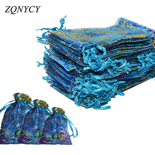 20Pcs/lot 7x9,9*12,10*14cm Organza Bags Wedding Festival Gifts Bag Drawstring Candy Jewelry Packaging Bags & Pouches