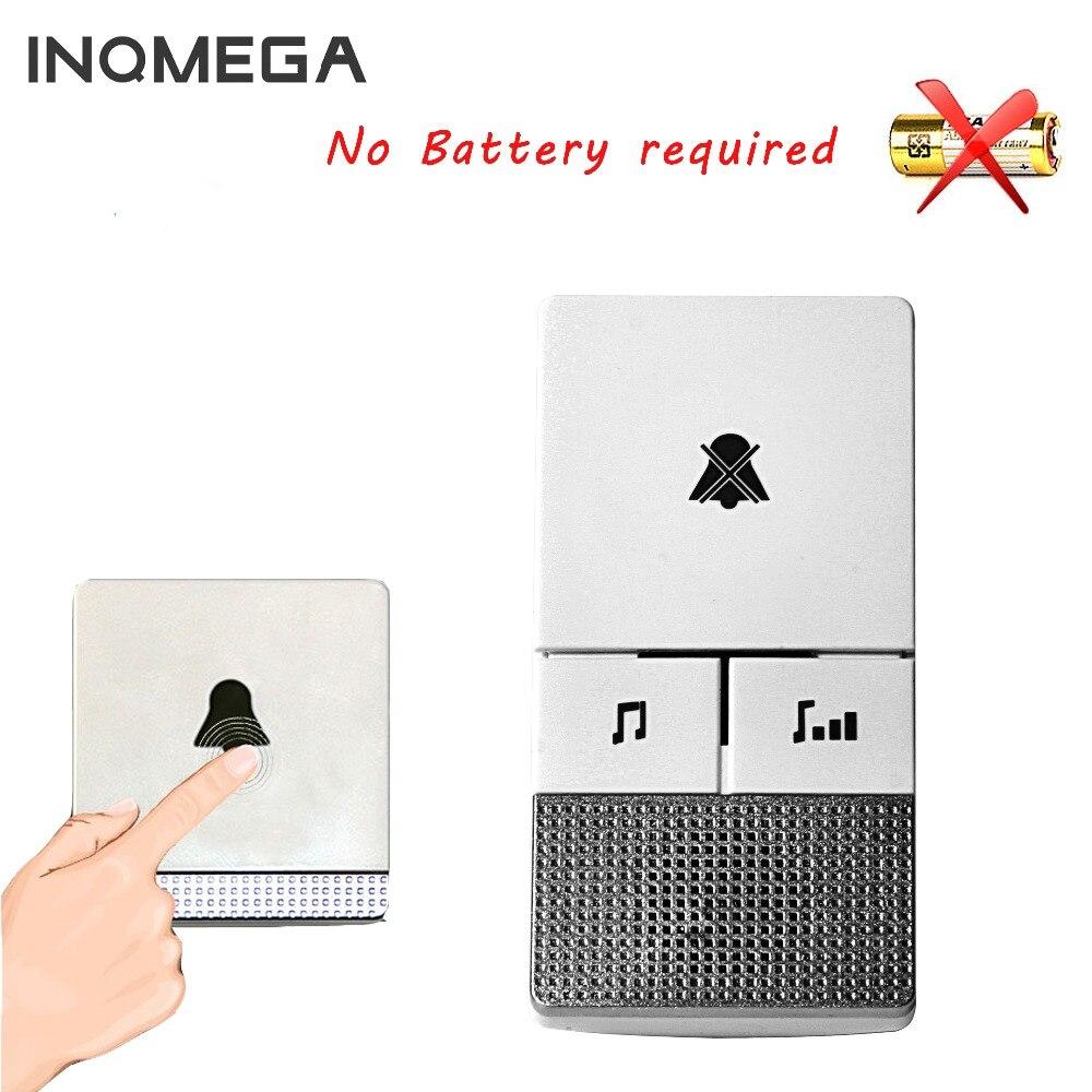 self powered Waterproof Wireless DoorBell night light sensor no battery EU plug smart Door Bell with 1 2 button/Receiver