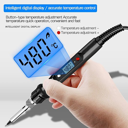 220V 80W LCD Electric Soldering Iron 110V Adjustable Temperature Solder Iron Rework Station Accessories 180 to 480 Celsius