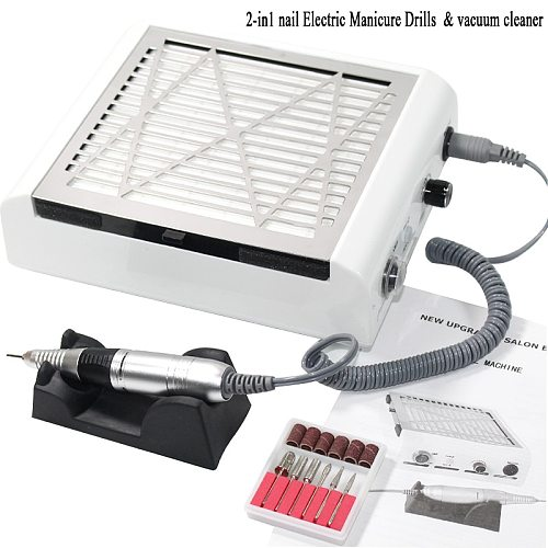 2 in 1 60w manicure vacuum nail cleaner dust collector polishing pencil nail art equipment manicure pedicure machine