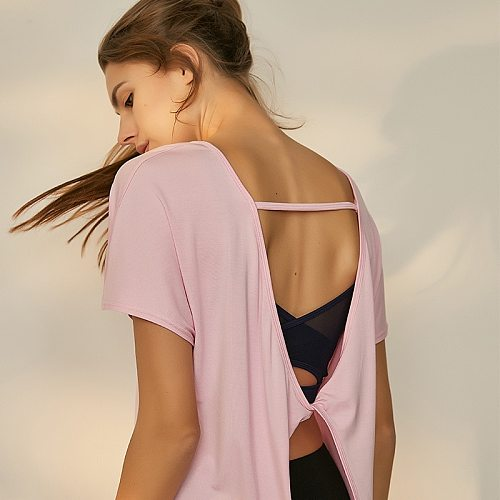 Sexy Backless Modal Yoga Shirts Short Sleeve Twist Back Women Gym Sports T Shirt Workout Tops Female Sportswear Yoga Clothing