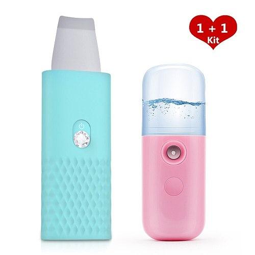1 Set Ultrasonic Skin Scrubber and Face Nano Mist Sprayer Reduce Wrinkles Spots Blackhead Facial Whitening Peeling Devices Tool