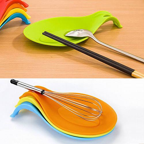 Silicone Insulation Spoon Rest Heat Resistant Placemat Drink Glass Coaster Tray Spoon Pad Eat Mat Pot Holder Kitchen Accessories