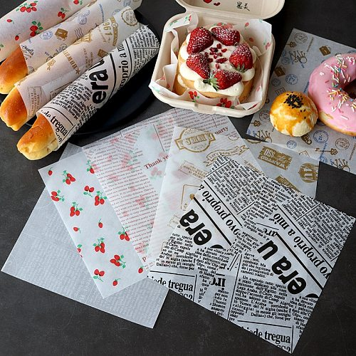 100 Pcs Oil-Proof Wax Paper For Food Wrapper Paper Bread Sandwich Burger Fries Wrapping Baking Tools Fast Food Bread Oil-Paper