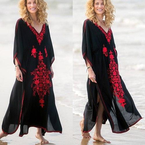 2020 Kaftan Beach Cover Up Women Swimsuit Beach Dress Tunic Bikini Cover Up Pareo Sarong Beachwear Bathing Suit