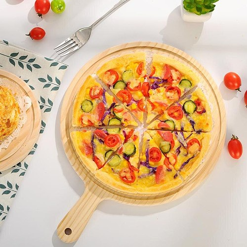 Wooden Pizza Tray Round Pizza Bakeware Cutting Board Platter Pizza Cake Shovel Baking Pastry Tool For Pizza Tools Kitchen Tools