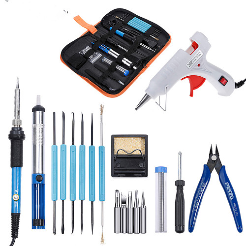 110V/220V 60W Soldering Iron Kit Desoldering Pump Tin Wire Welding Tools Storage Bag