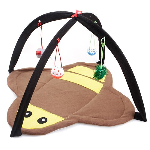 Portable Cat Tent Bed Funny Pet Cat Toys Mobile Activity Cat Play Mat Blanket House Kitten Tents With Hanging Toy Pet Supplies