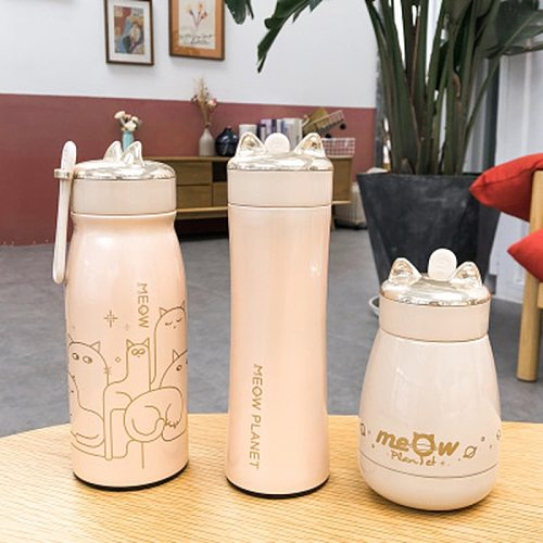 Stainless Steel Cartoon Cat Creative Premium Travel Bottle Tea Coffee Milk Water Cup Student Sports Portable Water Cup Thermomug