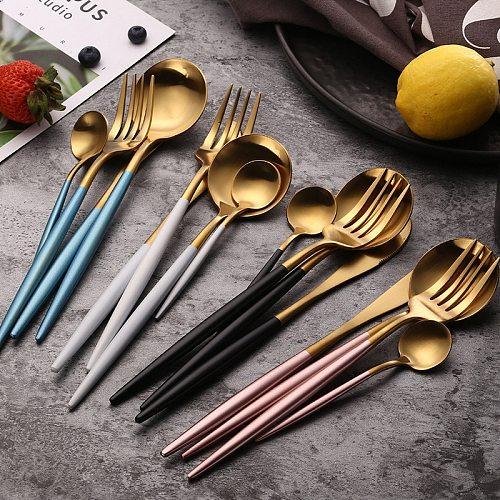 Dinnerware Set Travel Camping Cutlery Steak Knife Fork Set Reusable Coffee Spoon Metal Fork Chopsticks Portable Dinnerware Set