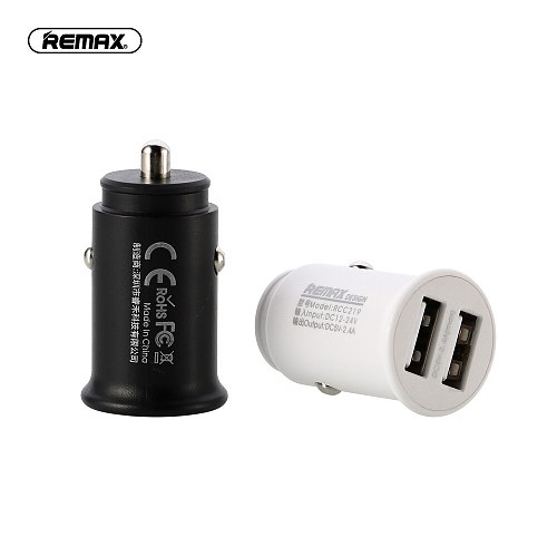 Remax Dual USB port Car Charger Adapter 5V/2.4A fast Charger for Smart Mobile Phone charging For iphone 7 samsung xiaomi huawei