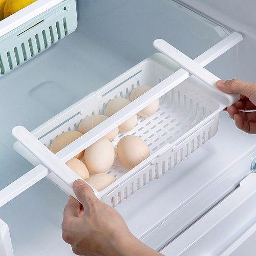 Kitchen Refrigerator Storage Rack Adjustable Telescopic Refrigerator Drawer Storage Box Multi-Function Accessories Save Space