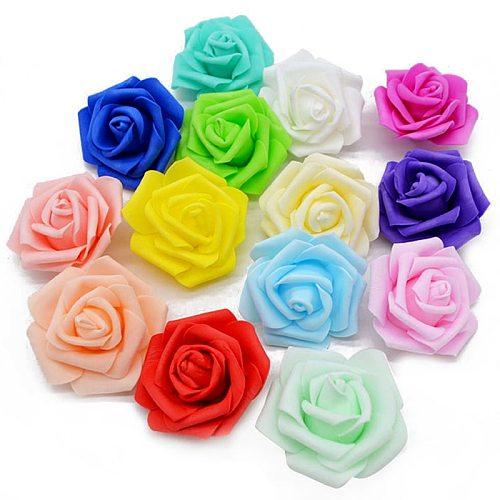 20pcs/lot Handmade 6cm Artificial Foam Roses PE Foam Rose Flower Head DIY For Wedding Home Festival Decorative Flowers scrapbook