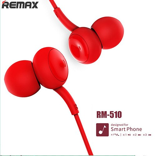 Remax 510 Earphone Touch Music Wired Headset Noise Cancelling Earphone For iPhone Xiaomi Mobile phone
