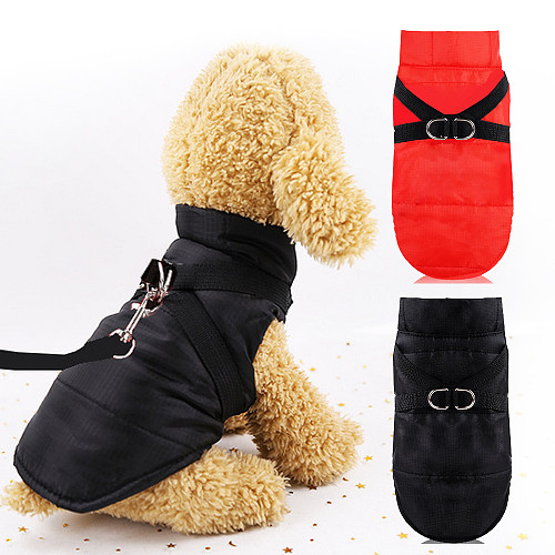 Waterproof Winter Puppy Costume Warm Dog Jacket Coat With Chest Harness Strap Pet Dog Clothes For Big Small Dogs