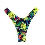 Sexy Bikini Thong Swimwear Women Bottoms Solid Color Bikini T-Back Brazilian Swimming Panties Print Bikini Bottoms