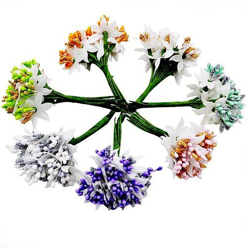 12PCS/lot Mulberry party Artificial Flower Stamen wire stem/marriage leaves stamen DIY wreath wedding box decoration Fake flower