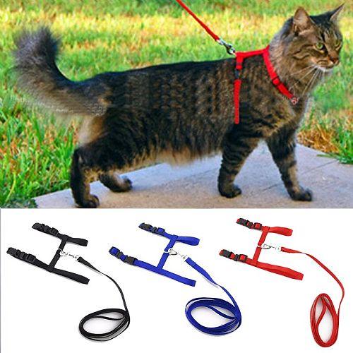 Cat Pet Collar Harness Nylon Pet Leash Adjustable Pet Traction Harness Belt Halter Collar for Animals Pet Kitten Random Pattern