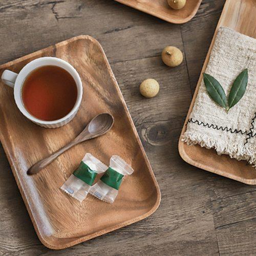 Japanese Whole Wood Lovesickness Wood Irregular Oval Solid Wood Pan Plate Fruit Dishes Saucer Tea Dessert Tableware Set Rectangl