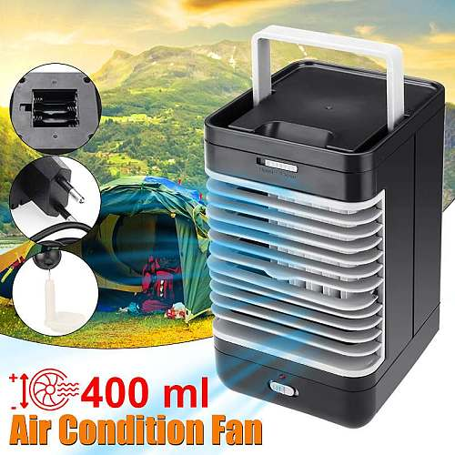 AC220V Mini Portable Air Conditioner Humidifier Purifier Desktop Cooling Fan Air Cooler Black Fan for Camping Outdoor Activities