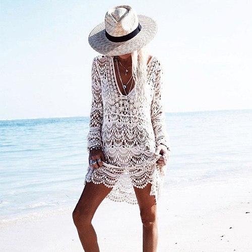 2020 Lace Long Sleeve Beach Dress Tunic Swimwear Women Swimsuit Crochet Bikini Cover Up Pareo Sarong Beachwear Bathing Suit