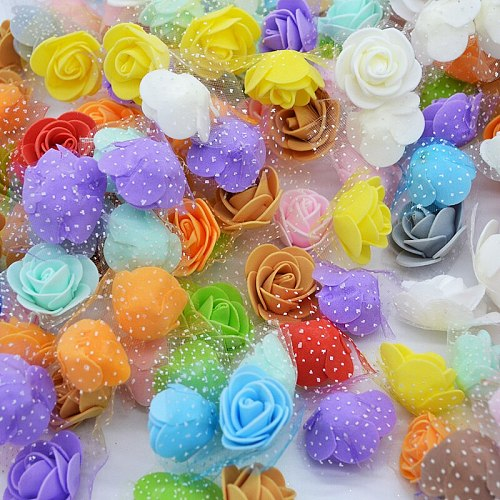 50Pcs/lot 3.5cm Mini PE Foam Rose Flower Head Artificial Silk Flowers Home Garden DIY Wreath Supplies Wedding Party Decoration