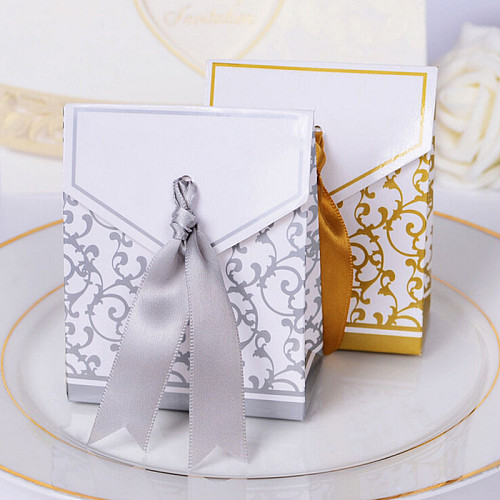 10Pcs/lot Gold Silver Candy Paper Box With Ribbon Gift Bags Wedding Favors Sugar Case Birthday Party Decor Mariage Casamento