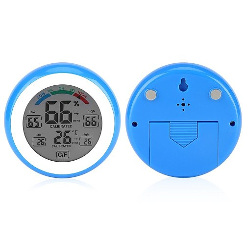 0-50'C LCD Digital Thermometer Hygrometer 32-122F Temperature Gauge Humidity Meter Touch Key with Backlight