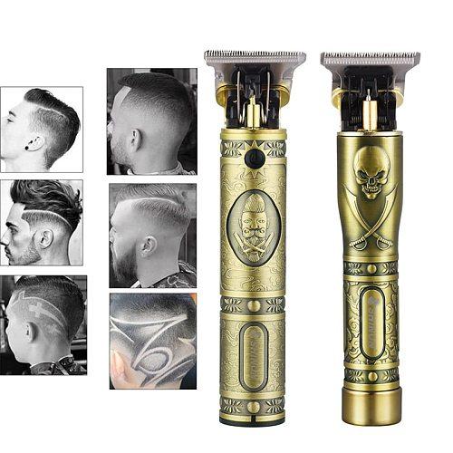 USB Rechargeable T-Outliner Beard Trimmer Clipper Cordless Haircut Men Baldheaded Hair Trimmer Barber Cut Hair Cutting Machine